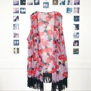 3 for $15 Avenue Floral Sheer Kimono Open Vest